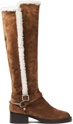 Sigerson Morrison Shearling-trimmed Suede Knee Boots