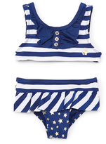 Pink Platinum Navy & White Stripe Bikini - Infant