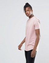 Asos Longline T-shirt With Curved Hem In Pink
