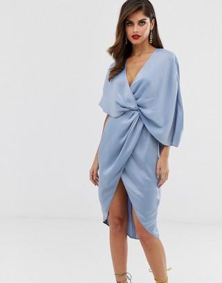 Asos Design DESIGN midi dress in satin with asymmetric kimono sleeve-Blue