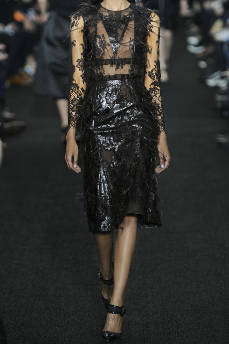 Erdem Bobin embellished faux leather and lace dress