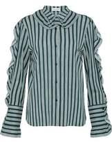 Sonia Rykiel Ruffle-Trimmed Striped Crepe Shirt