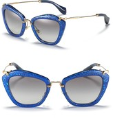Miu Miu Vintage Matte Glitter Cat Eye Sunglasses
