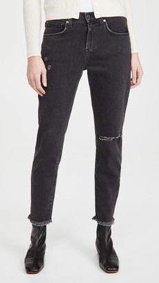 Veronica Beard Jeans Benzi Jeans With Destroy At Knee And Raw Hem