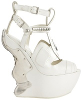 Alexander McQueen White Armour Wedge Show Shoe