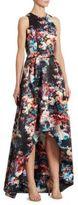 Monique Lhuillier Floral-Print Hi-Lo Gown