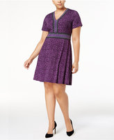 MICHAEL Michael Kors Size Animal-Print Fit and Flare Dress