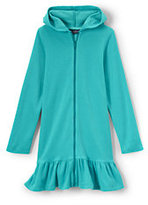 Lands' End Little Girls Solid Hooded Terry Cover Up-Capri Aqua