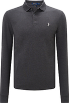 Polo Ralph Lauren Slim Fit Stretch Mesh Long Sleeve Polo Shirt, Stadium Grey Heather