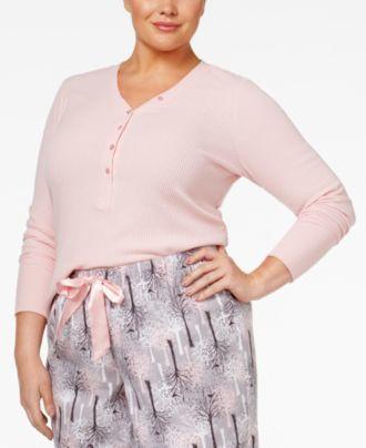 Alfani Plus Size Ribbed Henley Pajama Top, Created for Macy's