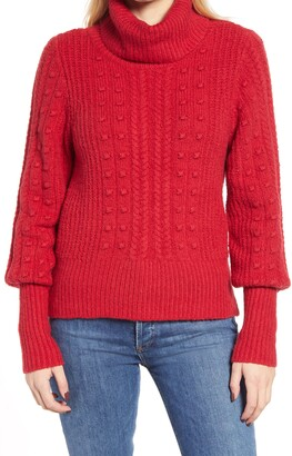Rachel Parcell Cable & Bobble Turtleneck Sweater