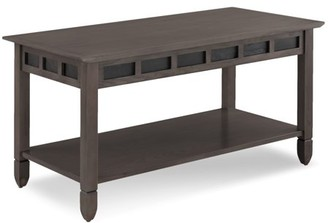 Leick Home Smoke Grey Oak and Black Slate Coffee Table