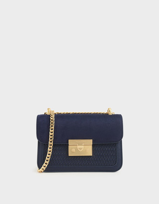 Charles & Keith Woven Boxy Chain Strap Bag