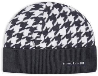 Stefano Ricci Men's Houndstooth Ski Beanie Hat