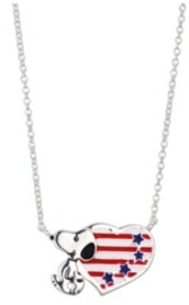 """Peanuts Fine Silver Plated Snoopy"""" Americana Heart Pendant Necklace, 16""""+2"""" for Unwritten"""