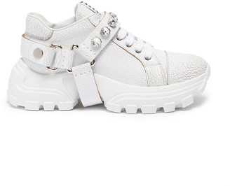 Miu Miu Glass crystal strap crackle leather chunky sneakers