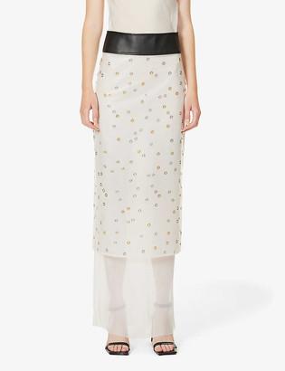 Hyun Mi Nielsen Eyelet-embellished shell midi skirt