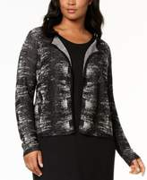Eileen Fisher Plus Size Collarless Printed Cardigan