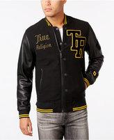 True Religion Men's Collegiate Leather-Sleeve Jacket