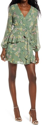 Leith Long Sleeve Wrap Front Minidress