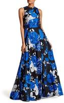 Mac Duggal Sleeveless Floral Layered Dress
