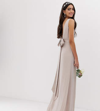 MinkPink Tfnc Tall TFNC Tall bridesmaid exclusive sateen bow back maxi in mink-Pink