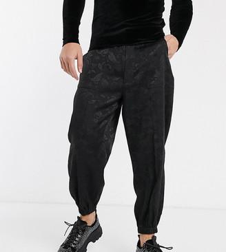 Heart N Dagger paisley skinny smart jogger in black