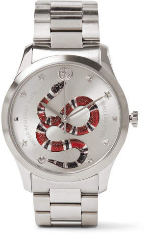 Gucci G-Timeless Snake-Dial 38mm Stainless Steel Watch - Silver