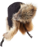 Preen Sky Hat with Shearling and Fox Fur