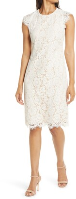 Vince Camuto Cap Sleeve Lace Sheath Dress