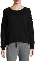 Betsey Johnson Women's Lace-Up Pullover Cotton Sweatshirt