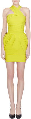 Preen by Thorton Bregazzi Citrus Green Stretch Sateen Cocktail Dress S