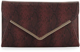 Neiman Marcus Faux-Leather Snake-Embossed Envelope Clutch Bag, Wine