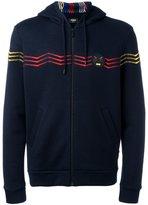 Fendi zig-zag embroidered hoodie - men - Cork/Polyester/Wool - 46