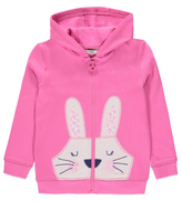 George Bunny Rabbit Appliqué Zip-Up Hoodie