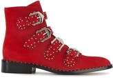 Givenchy Red Elegant Line suede ankle boots