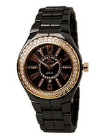 Lafayette Oniss Paris Women'S ON807-Lrg Blk Collection Ladies, High Tech Ceramic Case and Band, Swiss Movement, Sapphire Crystal ,45 Setting Austrian Stones on Bezel , Mop Dial with Austrian Crystal, Ip Rose - Pink Watch