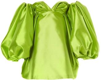 Carolina Herrera Strapless Balloon-Sleeve Satin Mini Dress
