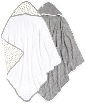 Burt's Bees Set of 2 Baby Single Ply Honey Bee Organic Hooded Towel