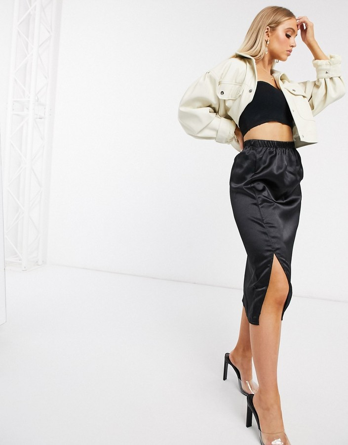 Thumbnail for your product : Parisian satin midi skirt with splits in black