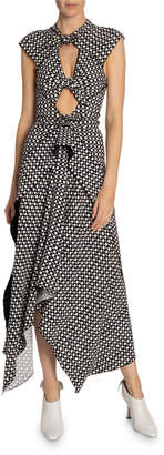 Proenza Schouler Knotted Keyhole Printed Handkerchief Dress