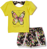 Dollhouse Yellow & Pink Butterfly Tee & Shorts - Infant, Toddler & Girls