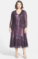 Komarov Plus Size Women's Lace Inset Charmeuse & Chiffon Dress With Jacket