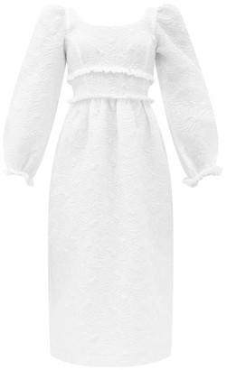 Shrimps Alexia Balloon-sleeve Floral-matelasse Midi Dress - White