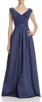 Adrianna Papell Pleated Cross Bodice Taffeta Gown