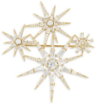 Adriana Orsini 18K Yellow Goldplated & Cubic Zirconia Star Cluster Brooch