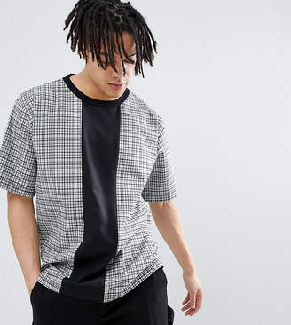 Reclaimed Vintage Inspired Woven Check T-Shirt With Cut And Sew-Grey