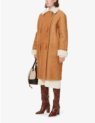 Loewe Contrast-collar leather and shearling coat