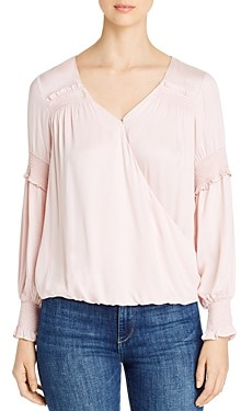 Design History Faux-Wrap Smocked Detail Top