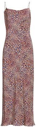 Adriana Iglesias Gloria Jaguar-Print Silk Slip Dress